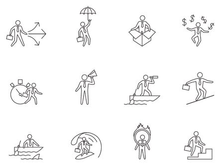 business meeting: Businessman icons in thin outlines.