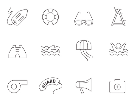 simple life: Lifeguard icons in thin outlines. Illustration