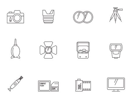 Photography icons in thin outlines.