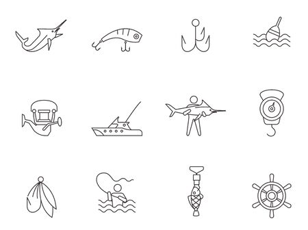 floater: Fishing icons in thin outlines. Illustration