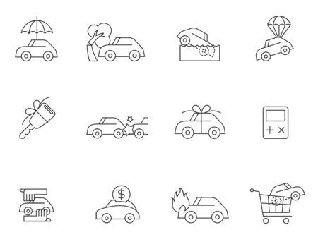 icônes de voitures à contours minces.