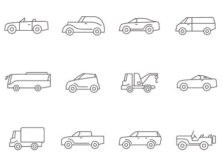 Car icons in thin outlines.