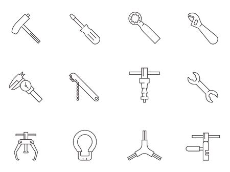 Bicycle tools icon series in thin outlines.