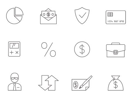 Finance icon series in thin outlines.