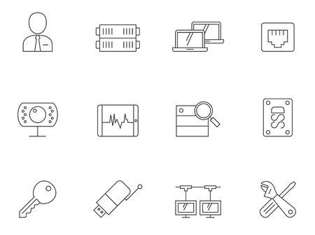 icono computadora: Computer network icon series in thin outlines.