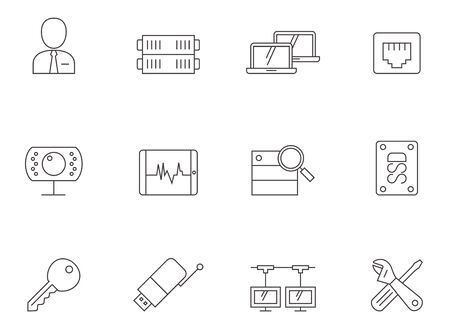 Computer network icon series in thin outlines.
