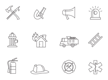 Fire fighter icons in thin outlines. Illustration