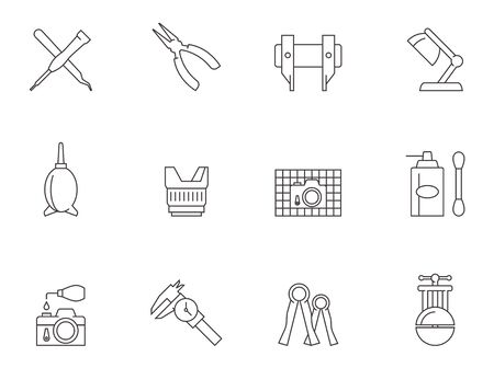 Camera repair tool icons in thin outlines.