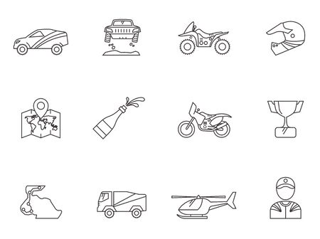 trail bike: Rally related icons in thin outlines.