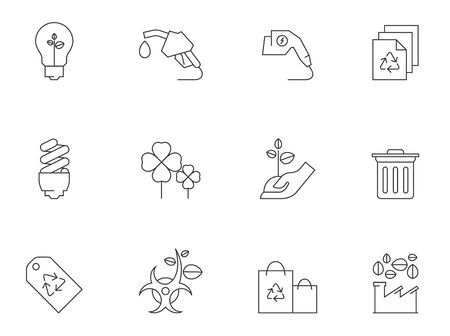 biohazard: Environment icon series in thin outlines.