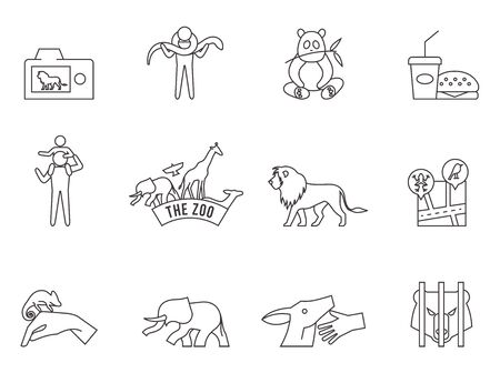 Zoo icons in thin outlines.