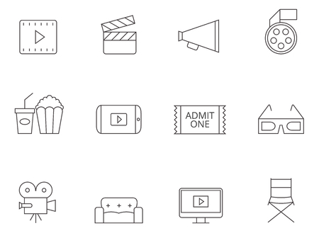 flick: Movie icon series in thin outlines. Illustration