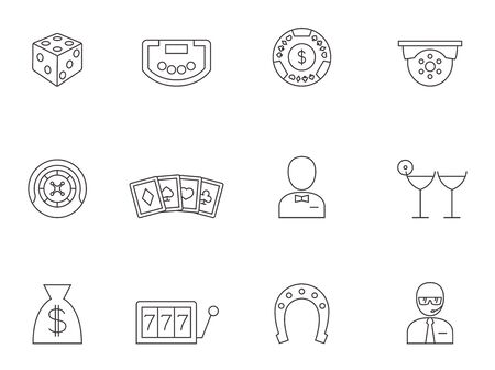 stroke of luck: Casino icons in thin outlines.