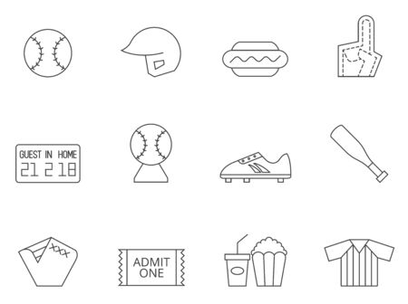 home icon: Baseball related icon series in thin outlines.