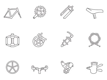 Bicycle part icons series in thin outlines.