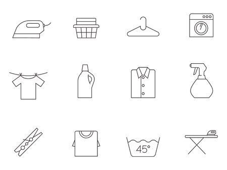 Laundry icons in thin outlines. Stock Illustratie