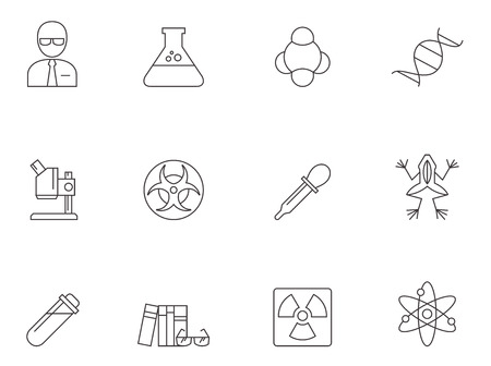 Science icons in thin outlines.