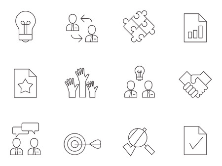 Management icons in thin outline style.