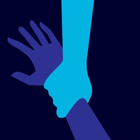 assist: Helping hand illustration in blue. Help assist support save. Illustration
