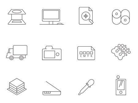 Icone dell'industria della stampa in stile sottile di contorno.