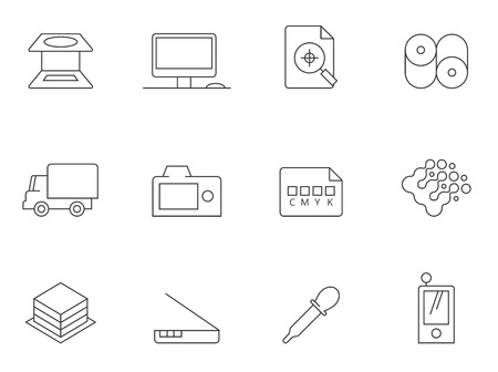 Printing industry icons in thin outline style.