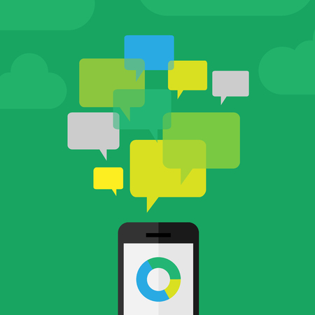 review: Customer - clients review concept depicted using phone and comment icons