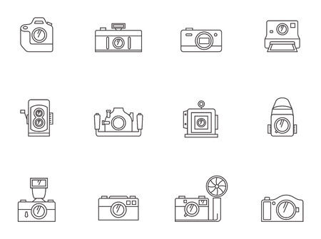 light reflex: Camera icons in thin outline style.