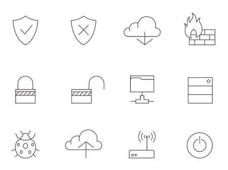 arrow icon: Computer network icons in thin outline style. Illustration