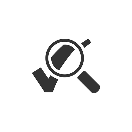 locate: Magnifier check mark icon in single grey color. Zoom find locate approved decisions voting