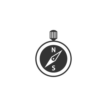 finding: Compass icon in single grey color. Direction north south lost locate