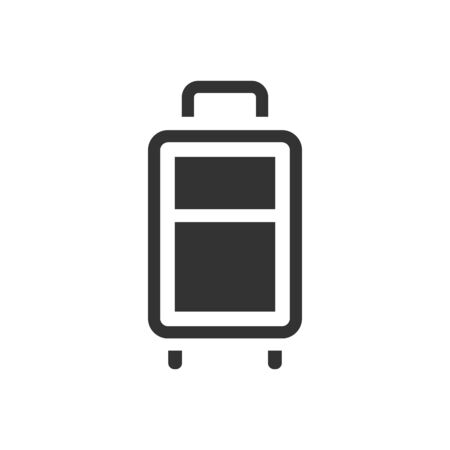 hard: Traveling suitcase icon in single grey color. Journey holiday business