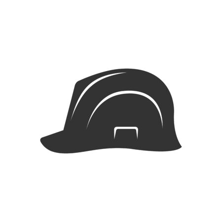 head protection: Hard hat icon in single color. Construction gear head protection builder worker Illustration