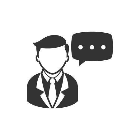 word of mouth: Businessman with text bubble icon in single grey color. Illustration