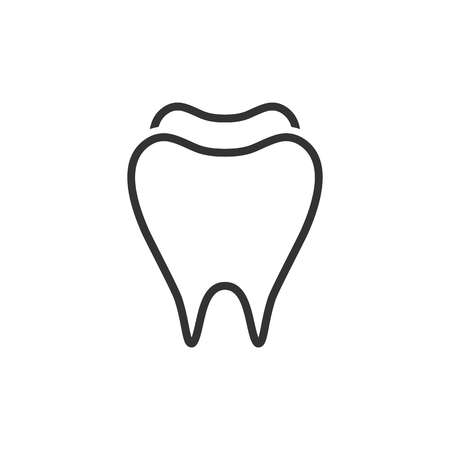 Tooth icon in single grey color. Toothpaste, hygiene, smile, healthy