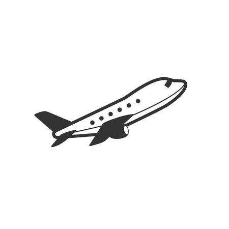 passenger transportation: Airplane icon in single grey color. Aviation transportation take-off travel passenger