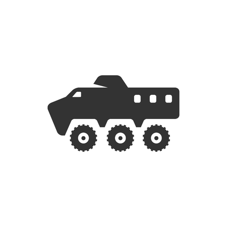 armored: Armored vehicle icon in single color. Military army tranportation bullet proof Illustration