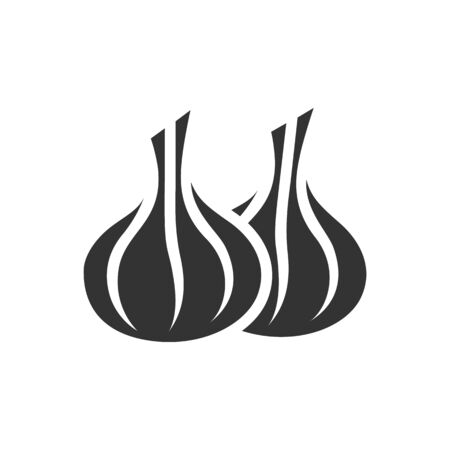 Garlic icon in single color. Food ingredient cooking organic Illustration