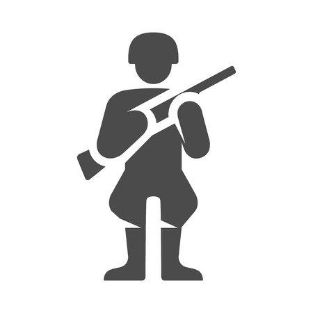 World War army icons in single color. Weapon riffle uniform Illustration