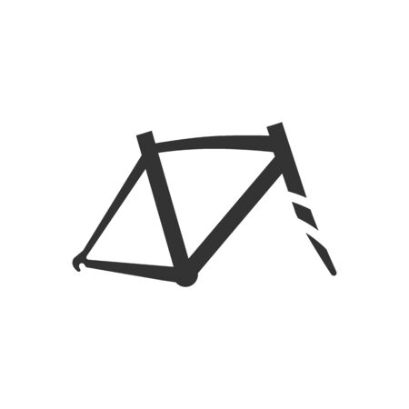 Bicycle frame icon in single color. Sport transportation leisure size fitting Illustration