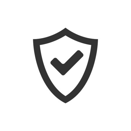 checkmark: Shield icon with checkmark in single grey color. Protection guard safety