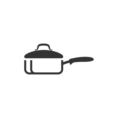 Cooking pan icon in single color. Food restaurant chef utensil boiling hot saucepan