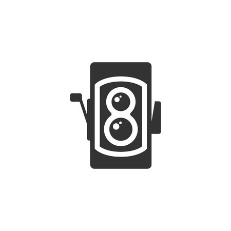 film history: Twin lens reflex camera icon in single color. Vintage retro photography photo mechanical analog film shooting Illustration