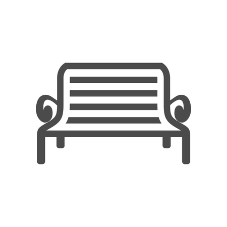 iron: Park bench icon in single grey color. Recreation relaxation waiting