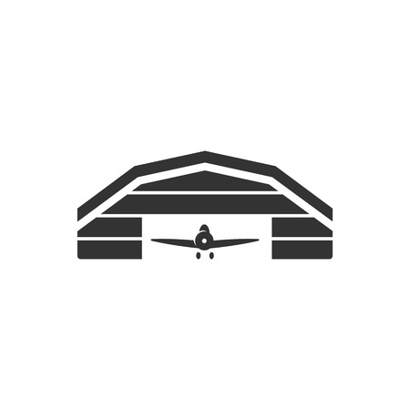 building structure: Airplane hangar icon in single color. Aviation repair maintenance building structure Illustration