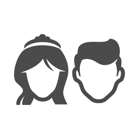 newlywed: Bride and groom icons in single color. Married couple newlywed Illustration