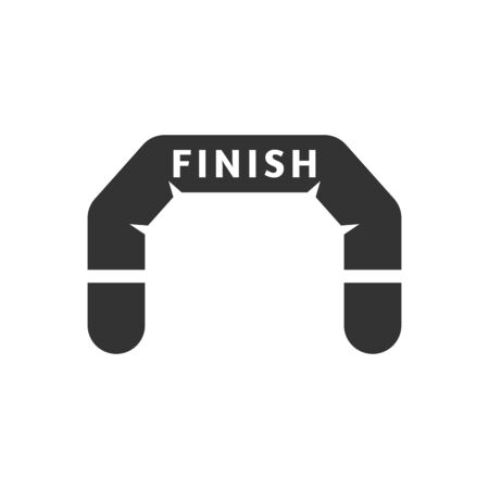 flag: Finish line icon in single grey color. Air tube inflatable