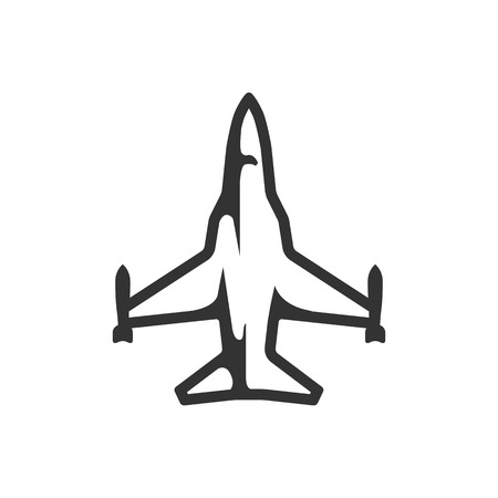 Fighter jet icon in single color. Aircraft military attack avionic