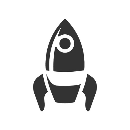 Rocket icon in single grey color. Launching, startup, media, idea Illustration