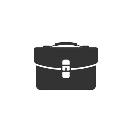 Business suitcase icon in single grey color. Office document store Illustration