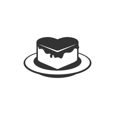 Chocolate cake icon in single grey color. Heart shape wedding birthday love Valentine